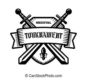 Medieval tournament knight logo. - Medieval tournament fight...