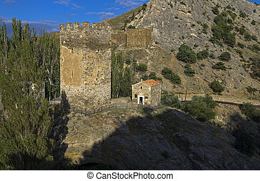 Medieval tower and old temple.