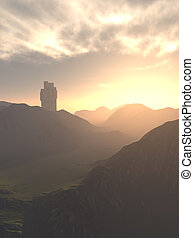 Medieval Tower House Castle and Mountains at Sunset