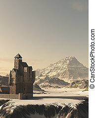 Medieval Tower House Castle in Winter Mountains