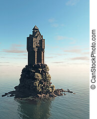 Medieval Tower House Castle on a Rocky Island