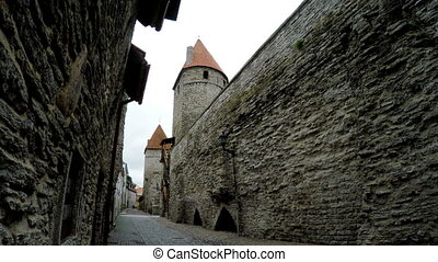 Medieval tower - part of the city wall. Tallinn, Estonia -...