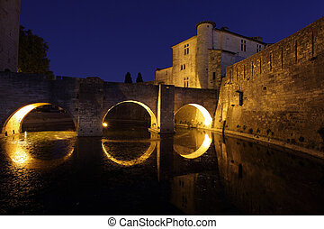 Medieval town Aigues-Mortes at night, southern France