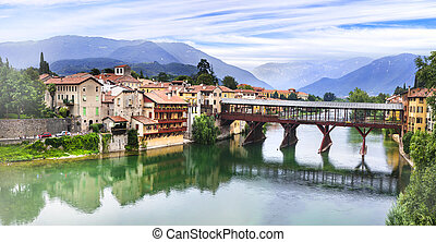medieval town Bassano de Grappa located in Brenta river. ...