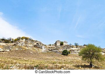 medieval town chufut-kale on mountain, Crimea - medieval...