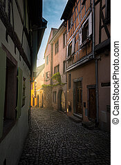 Medieval Town Eguisheim - colorful halftimbered houses along...