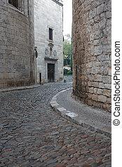 Medieval Town - Narrow cobblestone alley in European ...