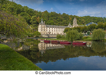 Medieval town of Brantome - River view of the town of ...