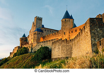 Medieval town of Carcassonne at sunset