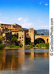 Medieval town on the banks of river
