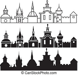 Medieval town panorama in three variants
