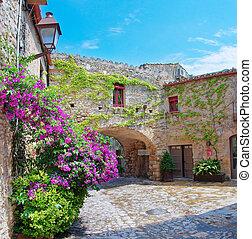 Medieval town Peratallada in Catalonia, Spain