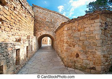 Medieval town Peratallada, Spain - Old passageway in ...