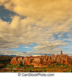 Medieval Town Pitigliano over the Tuscany Valley, Sunset