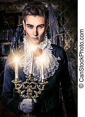 medieval vampire - Handsome vampire man wearing elegant...