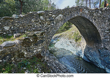Medieval Venetian bridge in the canyon among rocks at sunny spring evening.
