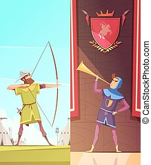 Medieval Vertical Cartoon Banners Set