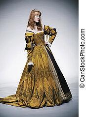 medieval, vezes, senhora