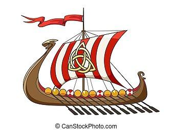 Medieval Viking Drakkar Ship