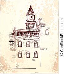 Medieval village - Postcard design by medieval village....