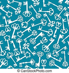 Medieval vintage keys seamless pattern