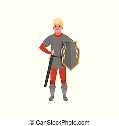 Medieval warrior character with shield and sword vector Illustration on a white background