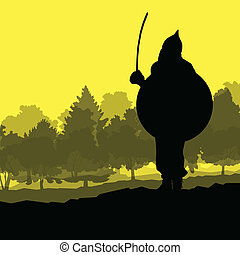 Medieval warrior, crusader vector background landscape