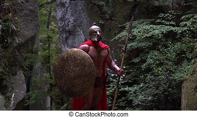 Medieval warrior in the woods - Shot of an armored spartan...