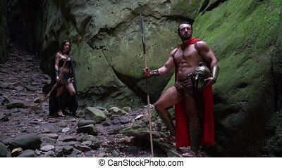 Medieval warrior in the woods - Full length shot of a...