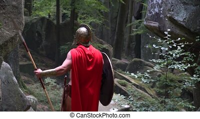 Medieval warrior in the woods - Rearview horizontal shot of...