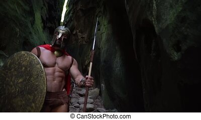 Medieval warrior in the woods