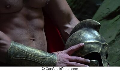 Medieval warrior in the woods - Cropped close up of a strong...