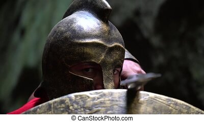Medieval warrior in the woods - Closeup of a mature spartan...