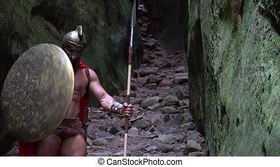 Medieval warrior in the woods - Medieval spartan warrior in...