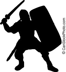Medieval warrior knight with sword vector silhouette. EPS 10