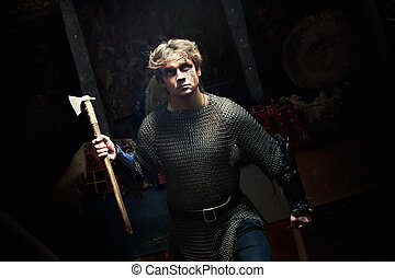 Medieval Warrior - Running medieval warrior in the chain...