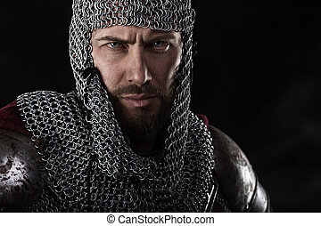 Medieval Warrior with chain mail armour and red Cloak -...