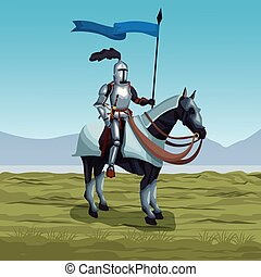 Medieval warrior with horse on battlefield