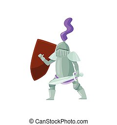 Medieval warrior with shield and sword in hands in fighting pose. Brave knight in shiny iron armor. Flat vector design