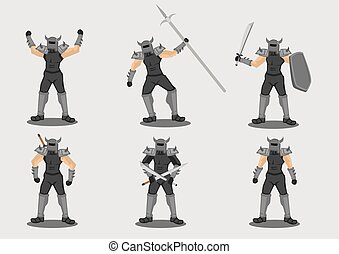 Medieval Warrior With Weapons Vector Character Design ...