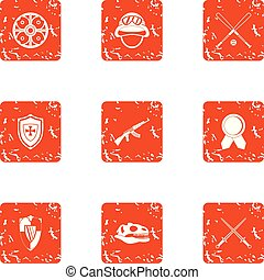 Medieval way icons set, grunge style - Medieval way icons...