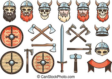 Medieval weapons and armor of Vikings and Knights - set for ...
