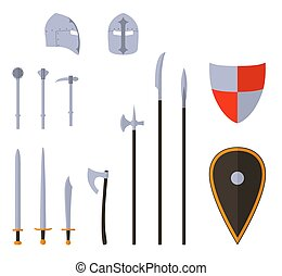 Medieval weapons and armors set. Medieval warrior equipment.