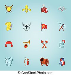 Medieval weapons icons set, cartoon style