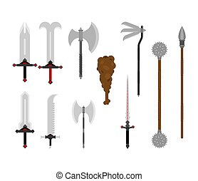 Medieval weapons set. antique metal armour weapon. Sword and ax. Halberd or spear. Saber and club. Mace and morning star