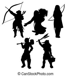 Medieval womans black silhouettes