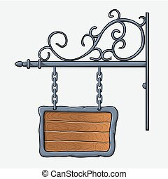 medieval wood sign - vector medieval wood sign hanging on...