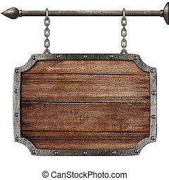 medieval wood sign hanging on chains isolated on white