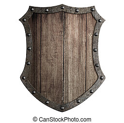 medieval wooden shield isolated 3d illustration