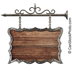 medieval wooden sign board hanging on chains isolated on...